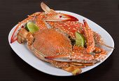 stock photo of cooked blue crab  - Boiled crabs with lime on the wood background - JPG