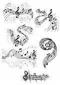 stock photo of clefs  - Black and white drawings of swirling musical scores and notes with clefs and overlay over grey designs for decorative design elements - JPG