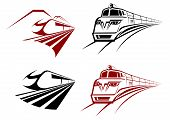 picture of passenger train  - Stylized speeding train or subway icons receding perspective in two color variation - JPG