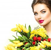 stock photo of bouquet  - Beauty model Woman with Spring Flower bouquet - JPG