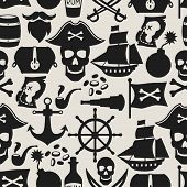 stock photo of cannonball  - Seamless pattern on pirate theme with objects and elements - JPG
