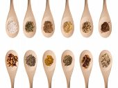 pic of garam masala  - Various herbs and spices isolated on white - JPG