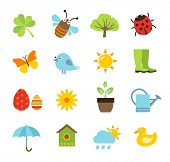 foto of spring-weather  - Collection of vector icons representing spring - JPG