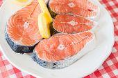 stock photo of salmon steak  - Salmon - JPG