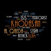 image of isis  - KHORASAN ISIS and Al Qaeda word cloud on white background - JPG