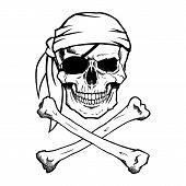 stock photo of eye-sockets  - Black and white pirate skull and crossbones - JPG