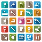 stock photo of household  - Colored icons of consumer goods and household appliances - JPG