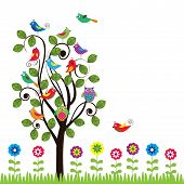 image of fanny  - Colorful background with fanny birds and trees - JPG