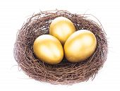 foto of priceless  - Three golden eggs in the nest isolated on white - JPG