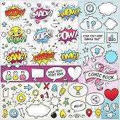 picture of heart sounds  - Large set of colorful comic book vector elements - JPG
