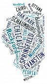 picture of illinois  - Word cloud in the shape of Illinois showing the cities in the state of Illinois - JPG