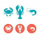 picture of fish icon  - Set of the seafood flat icons - JPG