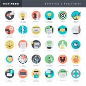 stock photo of blog icon  - Set of marketing and business flat design style vector icons - JPG