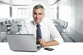 pic of portrait middle-aged man  - businessman senior gray hair working laptop interior modern white office - JPG