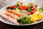 foto of salmon steak  - Grilled salmon and vegetables - JPG
