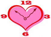 stock photo of tick tock  - Vector clip art of a heart shape clock with curly hands - JPG