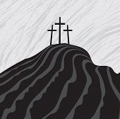 stock photo of calvary  - vector drawing of Mount Calvary with three crosses - JPG