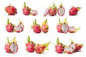 stock photo of dragon fruit  - composite of dragon fruit  isolated on white background - JPG