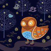foto of snow owl  - Magic card with cartoon owl in vector - JPG