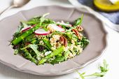 picture of rocket salad  - Ouinoa with Asparagus Rocket and Feta salad