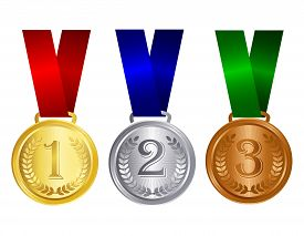 image of gold medal  - Gold silver and bronze medals with red blue and green ribbons and text inside for winners - JPG