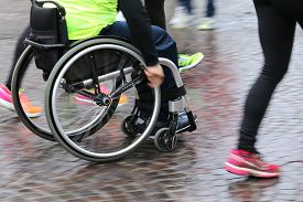 picture of wheelchair  - disabled athlete with the wheelchair during a sport competition - JPG