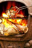 image of braai  - Summer barbecue with flamed grilled chicken in the open fire - JPG