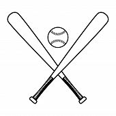 picture of baseball bat  - A vector illustration of two crossed baseball bats with a baseball - JPG