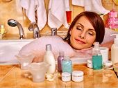 picture of bubble bath  - Woman relaxing and sleep at water in bubble bath - JPG
