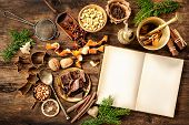 picture of christmas spices  - Baking concept background with cookbook - JPG
