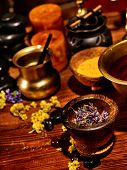 picture of panchakarma  - Luxury ayurvedic spa massage still life - JPG