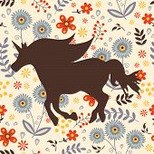 pic of chinese unicorn  - Beautiful silhouette Unicorn  horse on a floral background - JPG