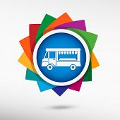 picture of meals wheels  - Food truck color icon vector illustration - JPG