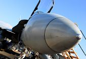 stock photo of missles  - fighter jet plane parked at an air base for maintenance - JPG