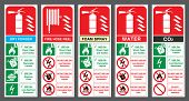 Постер, плакат: Set of safety labels Fire extinguisher colour code Fire extinguisher labels Vector illustration