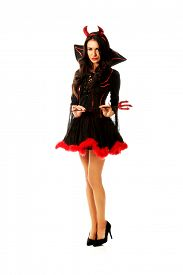picture of trident  - Sexy woman wearing devil clothes - JPG