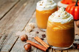 picture of nutrients  - ice honey pumpkin spice latte with whipped cream - JPG