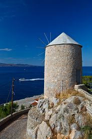 image of hydra  - Mill on the coast of Hydra island - JPG