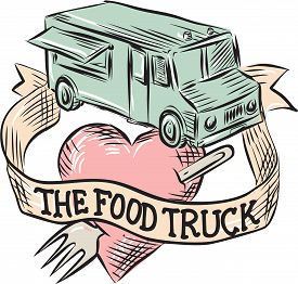 stock photo of food truck  - Etching engraving handmade style illustration of a food truck with heart pierced by a fork with ribbon in front and words  - JPG