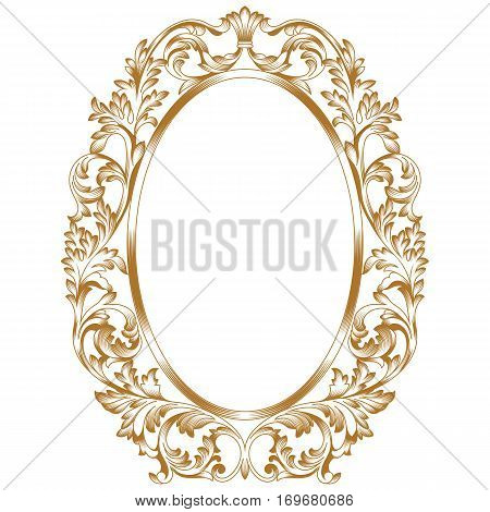 Golden vintage oval pattern frame, border oval pattern frame ...