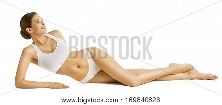 poster of Woman Slim Body Beauty Beautiful Model in Underwear Lying over White Background