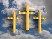 3D Golden Crosses In The Sky