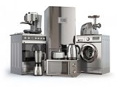 Home appliances. Gas cooker, refrigerator,  microwave and  washing machine, blender  toaster  coffee poster