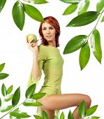 cute girl with fresh green apple