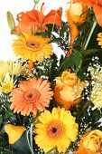 pic of flower arrangement  - bunch of beautiful orange and yellow flowers - JPG