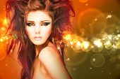 Beauty model woman with beautiful make up and curly hair style over holiday bright background with m poster