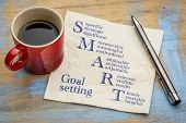 smart goal setting concept - handwriting on a napkin with a cup of espresso coffee poster