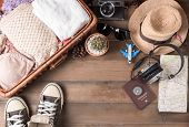 Travel Accessories Costumes. Passports, Luggage, Vintage Camera poster