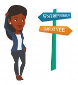 Woman standing at road sign with career pathways - entrepreneur and employee. Woman choosing career  poster
