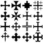 Vector heraldic crosses
